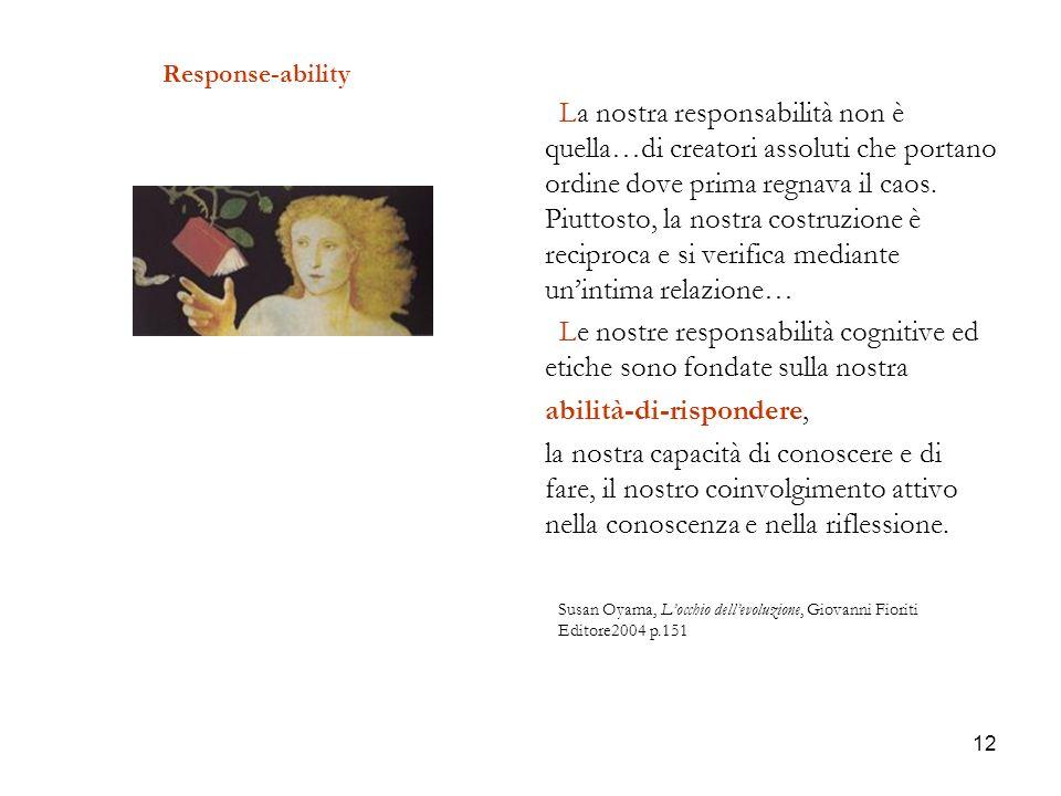 12 Response-ability La nostra responsabilità non è quella…di creatori assoluti che portano ordine dove prima regnava il caos. Piuttosto, la nostra cos