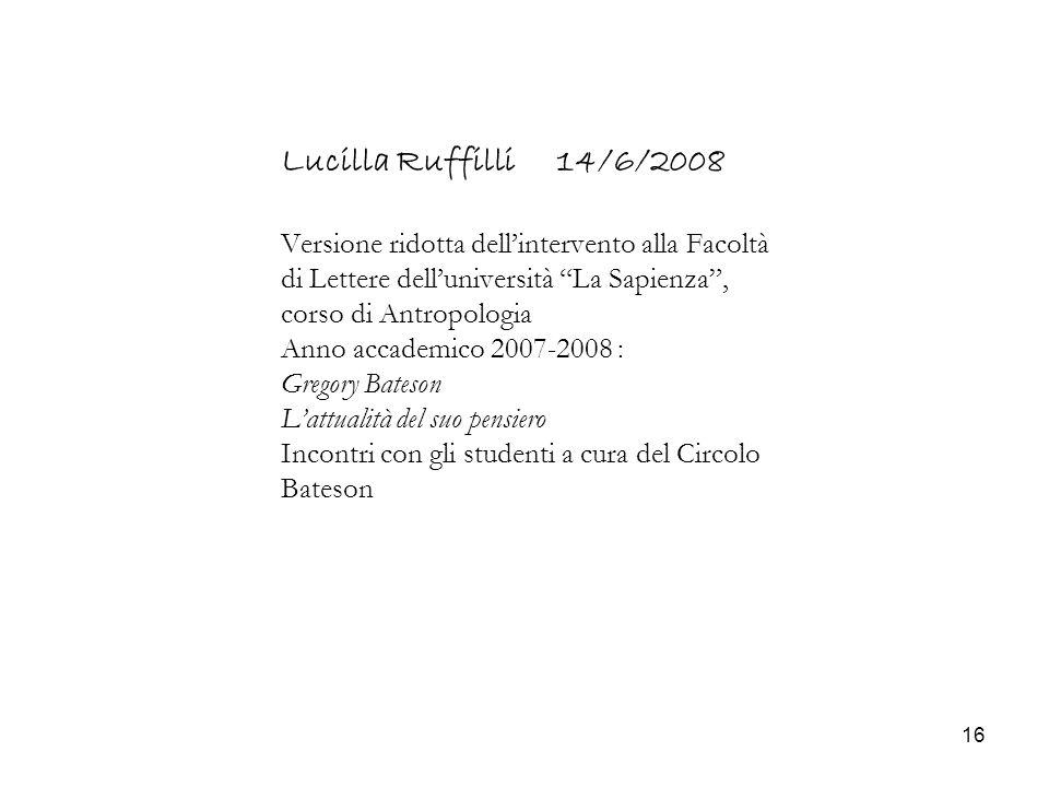 16 Lucilla Ruffilli 14/6/2008 Versione ridotta dellintervento alla Facoltà di Lettere delluniversità La Sapienza, corso di Antropologia Anno accademic