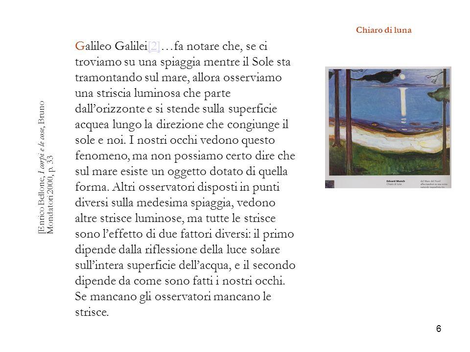 6 Chiaro di luna [Enrico Bellone, I corpi e le cose, Bruno Mondatori 2000, p. 33 Galileo Galilei[2]…fa notare che, se ci troviamo su una spiaggia ment