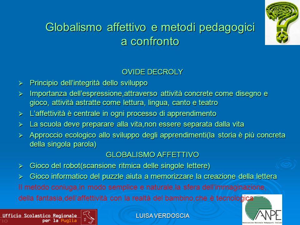 LUISA VERDOSCIA Globalismo affettivo e metodi pedagogici a confronto OVIDE DECROLY Principio dellintegrità dello sviluppo Principio dellintegrità dell