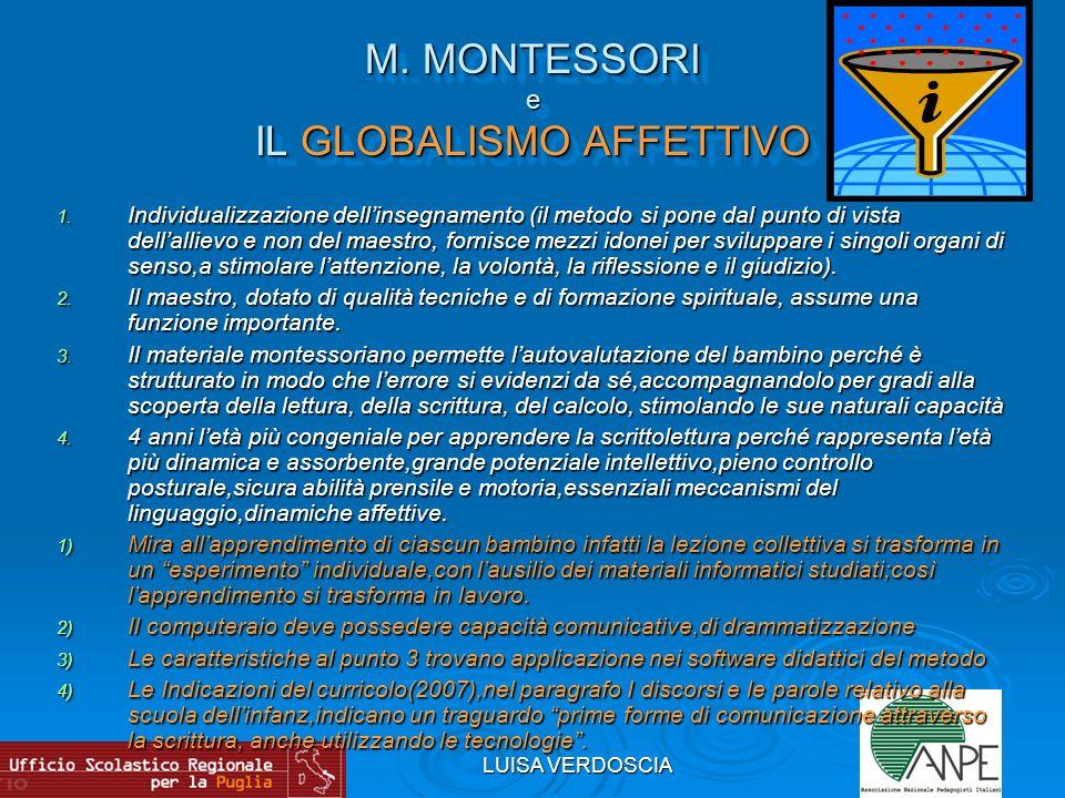 LUISA VERDOSCIA M. MONTESSORI e IL GLOBALISMO AFFETTIVO 1. Individualizzazione dellinsegnamento (il metodo si pone dal punto di vista dellallievo e no