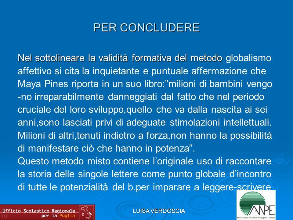 LUISA VERDOSCIA PER CONCLUDERE Nel sottolineare la validità formativa del metodo Nel sottolineare la validità formativa del metodo globalismo affettiv