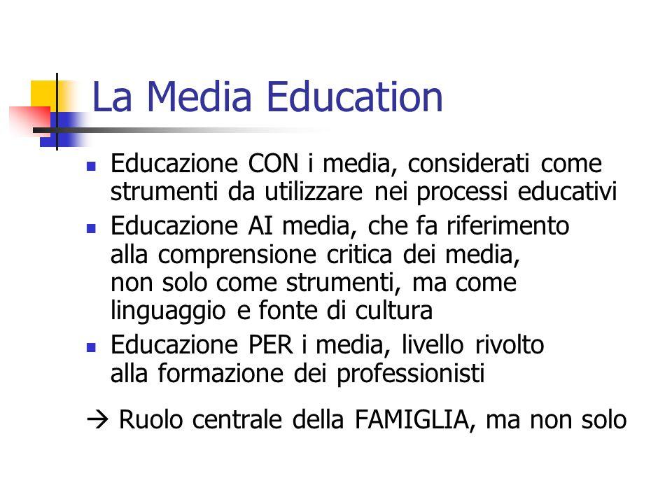 La Media Education Educazione CON i media, considerati come strumenti da utilizzare nei processi educativi Educazione AI media, che fa riferimento alla comprensione critica dei media, non solo come strumenti, ma come linguaggio e fonte di cultura Educazione PER i media, livello rivolto alla formazione dei professionisti Ruolo centrale della FAMIGLIA, ma non solo