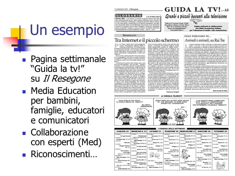 Un esempio Pagina settimanale Guida la tv.