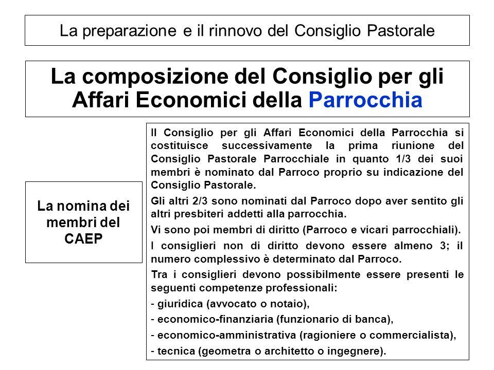 La preparazione e il rinnovo del Consiglio Pastorale La composizione del Consiglio per gli Affari Economici della Parrocchia La nomina dei membri del