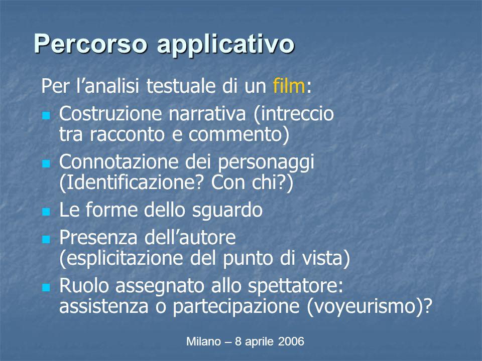 Percorso applicativo Per lanalisi testuale di un film: Costruzione narrativa (intreccio tra racconto e commento) Connotazione dei personaggi (Identificazione.