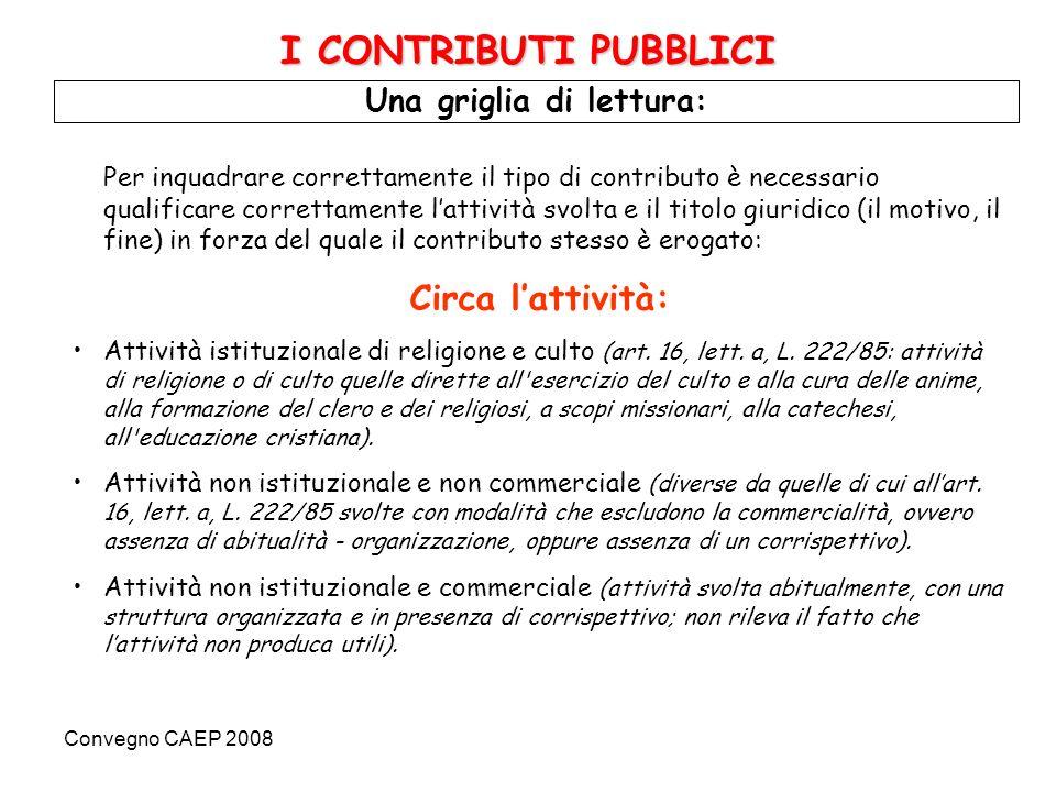 Convegno CAEP 2008 Una griglia di lettura: I CONTRIBUTI PUBBLICI Circa il titolo giuridico: Contributo riconosciuto in forza di un atto normativo, anche generale: p.e.
