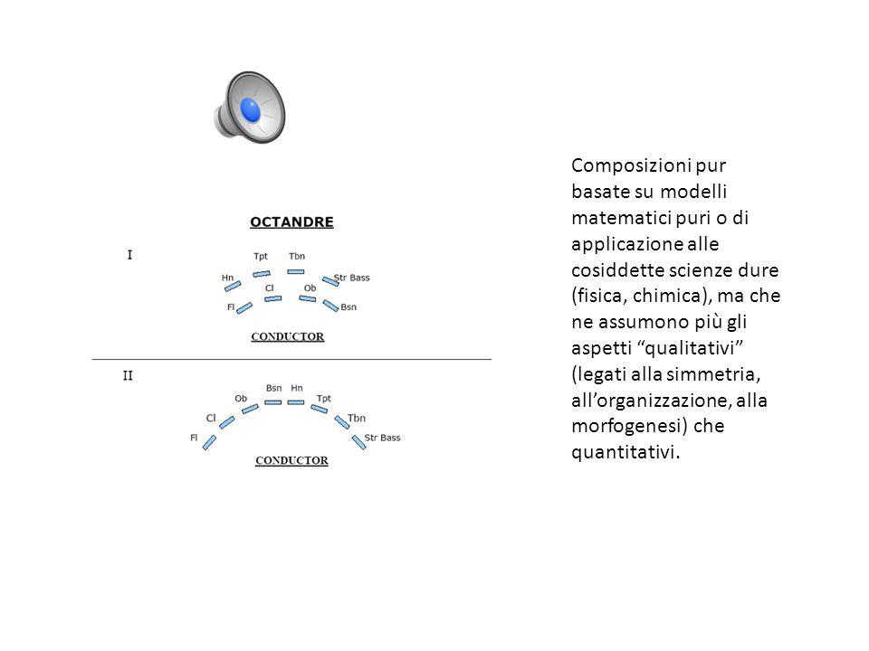 Composizioni pur basate su modelli matematici puri o di applicazione alle cosiddette scienze dure (fisica, chimica), ma che ne assumono più gli aspetti qualitativi (legati alla simmetria, allorganizzazione, alla morfogenesi) che quantitativi.