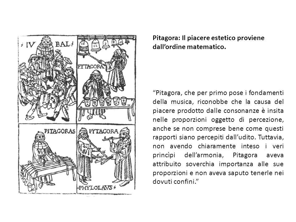 Pitagora, che per primo pose i fondamenti della musica, riconobbe che la causa del piacere prodotto dalle consonanze è insita nelle proporzioni oggetto di percezione, anche se non comprese bene come questi rapporti siano percepiti dalludito.