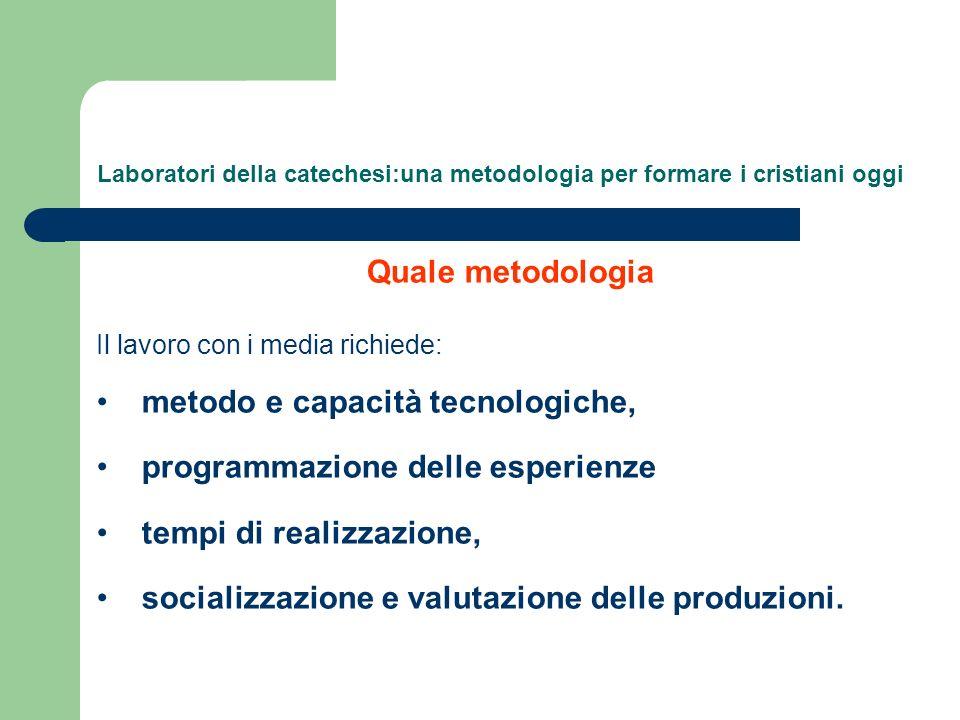 Laboratori della catechesi:una metodologia per formare i cristiani oggi Quale metodologia Il lavoro con i media richiede: metodo e capacità tecnologic