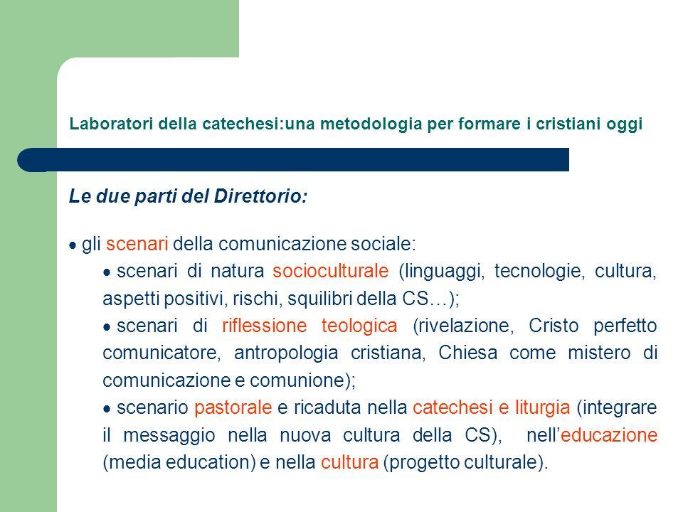 Laboratori della catechesi:una metodologia per formare i cristiani oggi Le due parti del Direttorio: gli scenari della comunicazione sociale: scenari