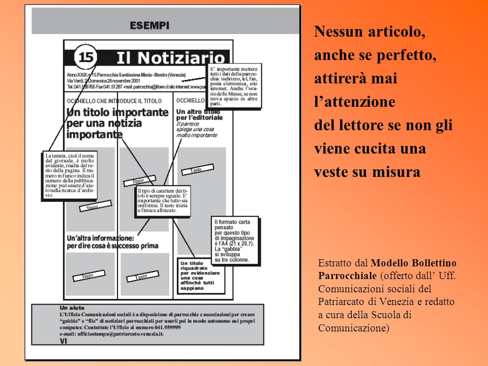 Estratto dal Modello Bollettino Parrocchiale (offerto dall Uff. Comunicazioni sociali del Patriarcato di Venezia e redatto a cura della Scuola di Comu
