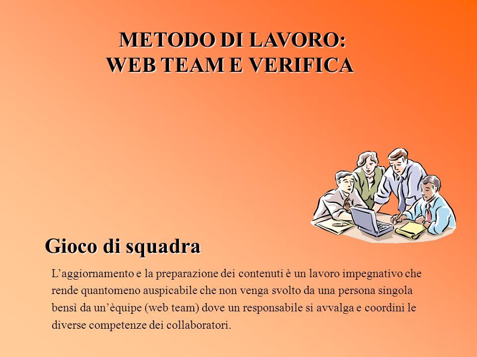 METODO DI LAVORO: METODO DI LAVORO: WEB TEAM E VERIFICA Gioco di squadra Laggiornamento e la preparazione dei contenuti è un lavoro impegnativo che re