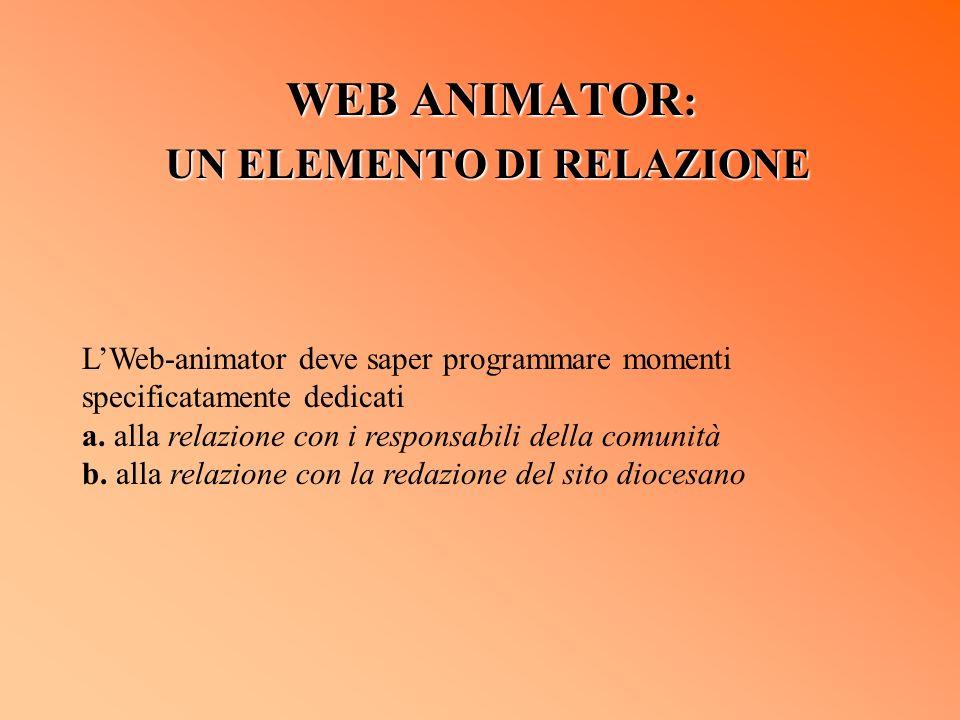 WEB ANIMATOR : UN ELEMENTO DI RELAZIONE LWeb-animator deve saper programmare momenti specificatamente dedicati a. alla relazione con i responsabili de