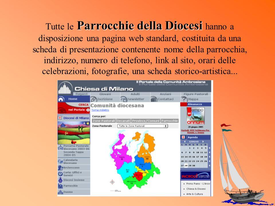 Parrocchie della Diocesi Tutte le Parrocchie della Diocesi hanno a disposizione una pagina web standard, costituita da una scheda di presentazione con