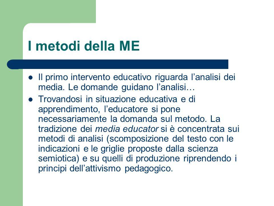I metodi della ME Il primo intervento educativo riguarda lanalisi dei media. Le domande guidano lanalisi… Trovandosi in situazione educativa e di appr