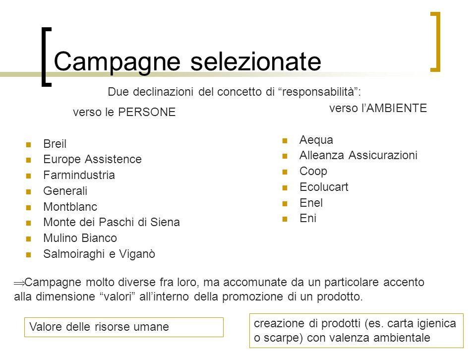Campagne selezionate verso le PERSONE Breil Europe Assistence Farmindustria Generali Montblanc Monte dei Paschi di Siena Mulino Bianco Salmoiraghi e V