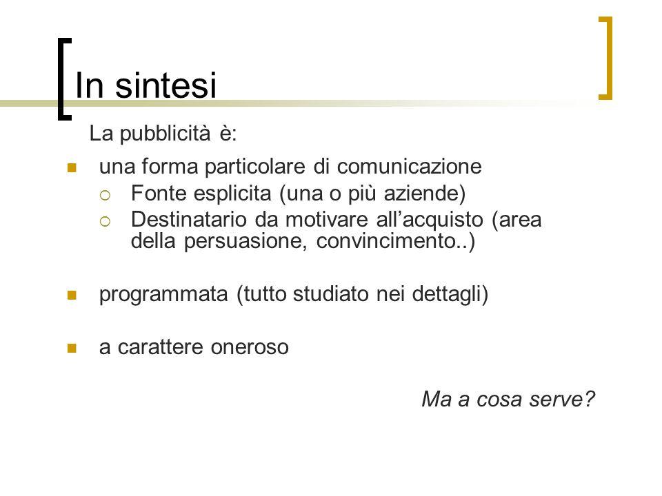 una forma particolare di comunicazione Fonte esplicita (una o più aziende) Destinatario da motivare allacquisto (area della persuasione, convincimento