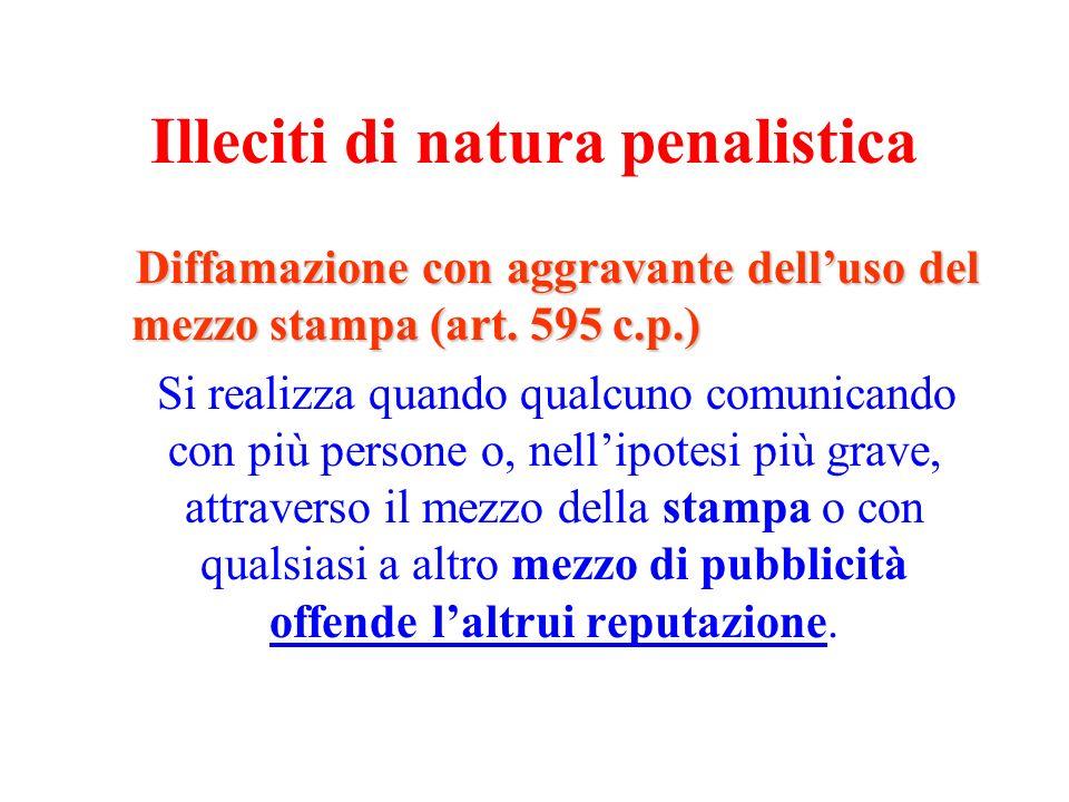 Illeciti di natura penalistica Diffamazione con aggravante delluso del mezzo stampa (art. 595 c.p.) Si realizza quando qualcuno comunicando con più pe