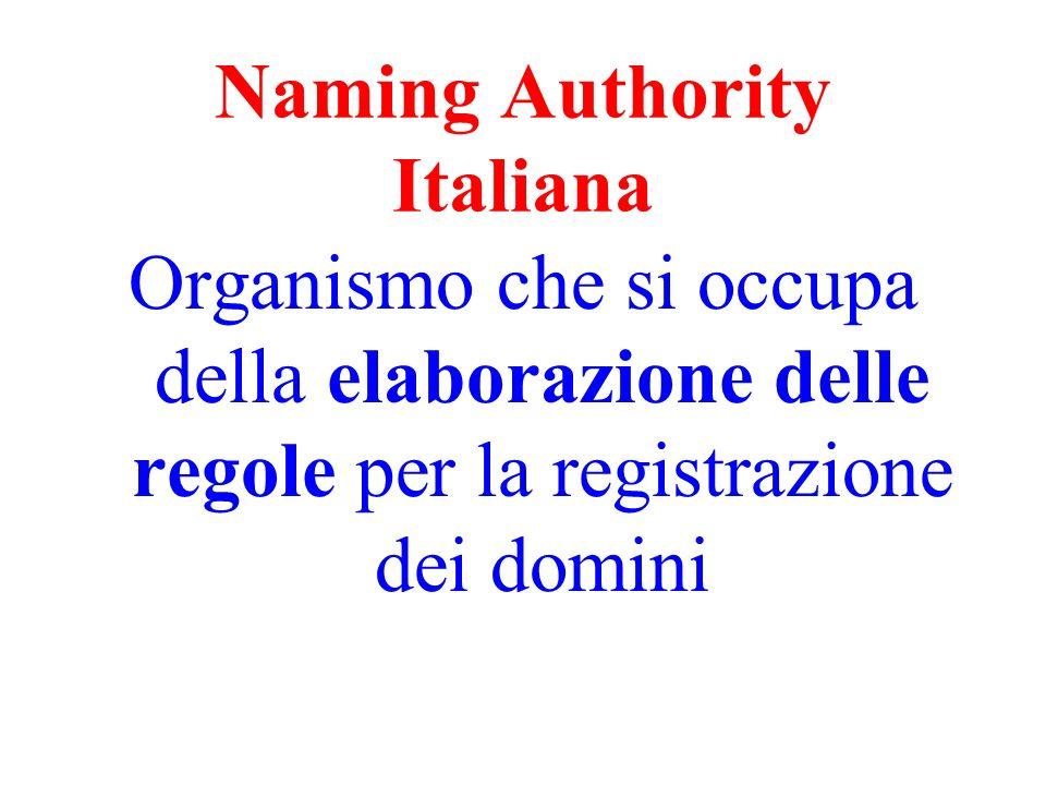 Naming Authority Italiana Organismo che si occupa della elaborazione delle regole per la registrazione dei domini