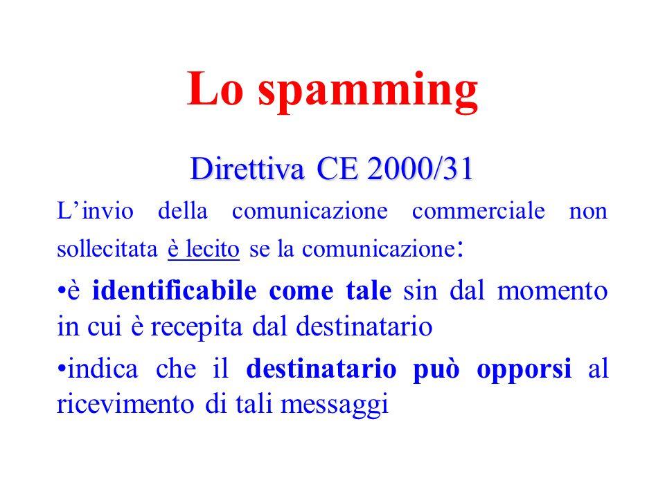Lo spamming Direttiva CE 2000/31 Linvio della comunicazione commerciale non sollecitata è lecito se la comunicazione : è identificabile come tale sin