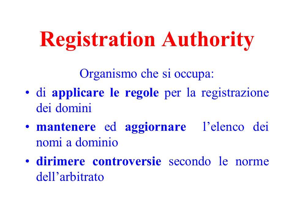 Registration Authority Organismo che si occupa: di applicare le regole per la registrazione dei domini mantenere ed aggiornare lelenco dei nomi a domi