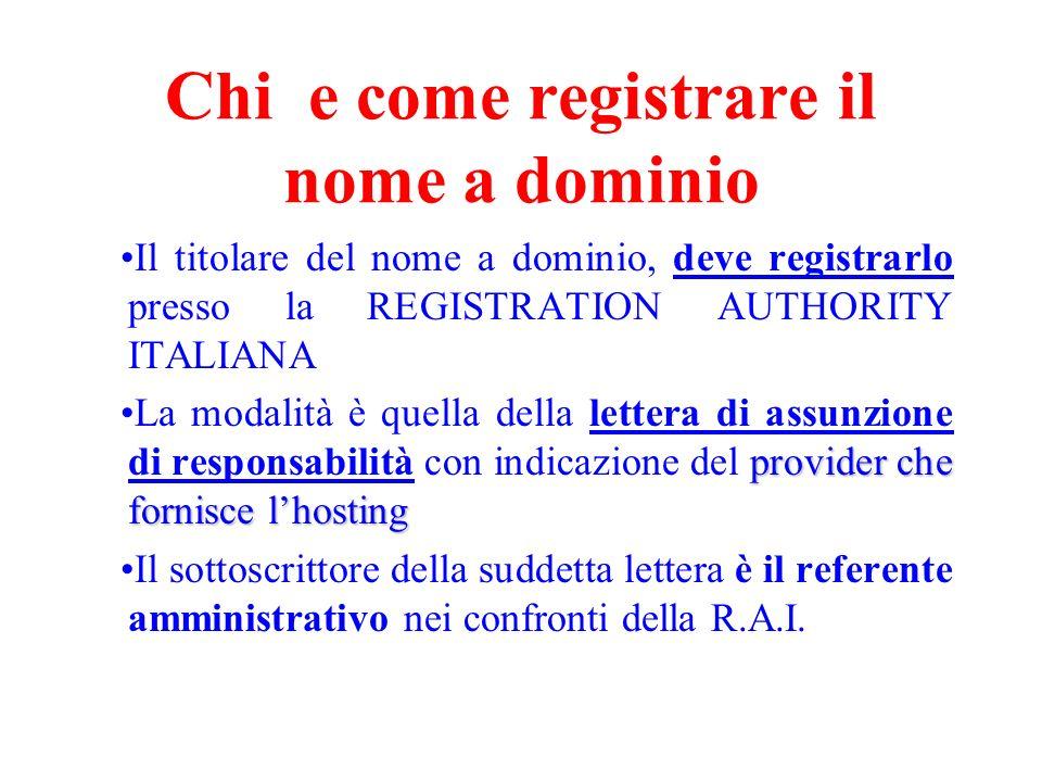 Chi e come registrare il nome a dominio Il titolare del nome a dominio, deve registrarlo presso la REGISTRATION AUTHORITY ITALIANA provider che fornis