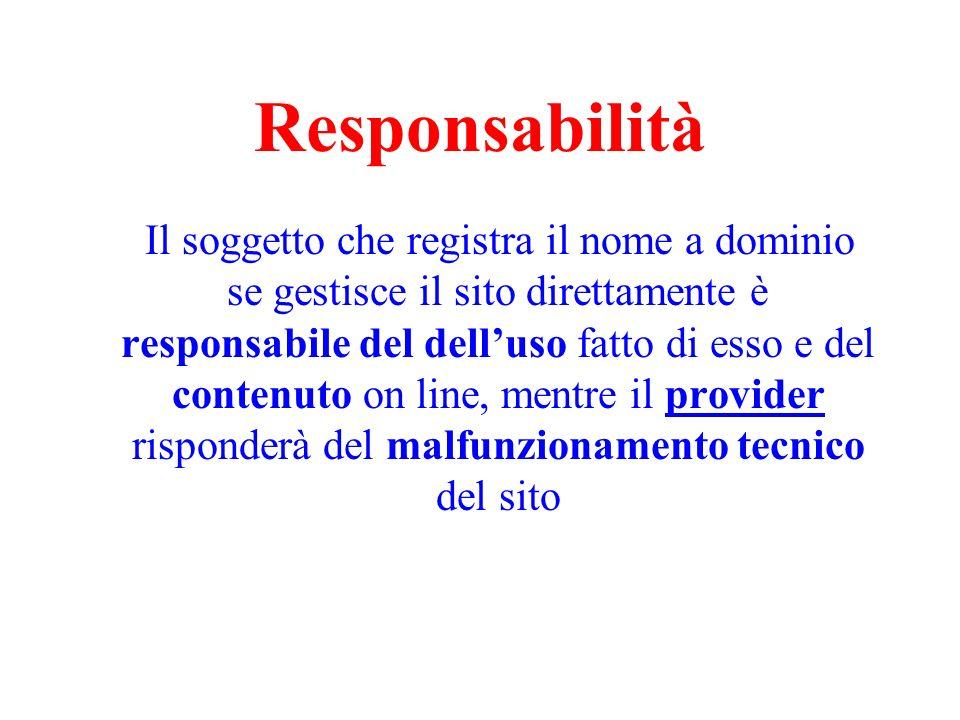 Responsabilità Il soggetto che registra il nome a dominio se gestisce il sito direttamente è responsabile del delluso fatto di esso e del contenuto on