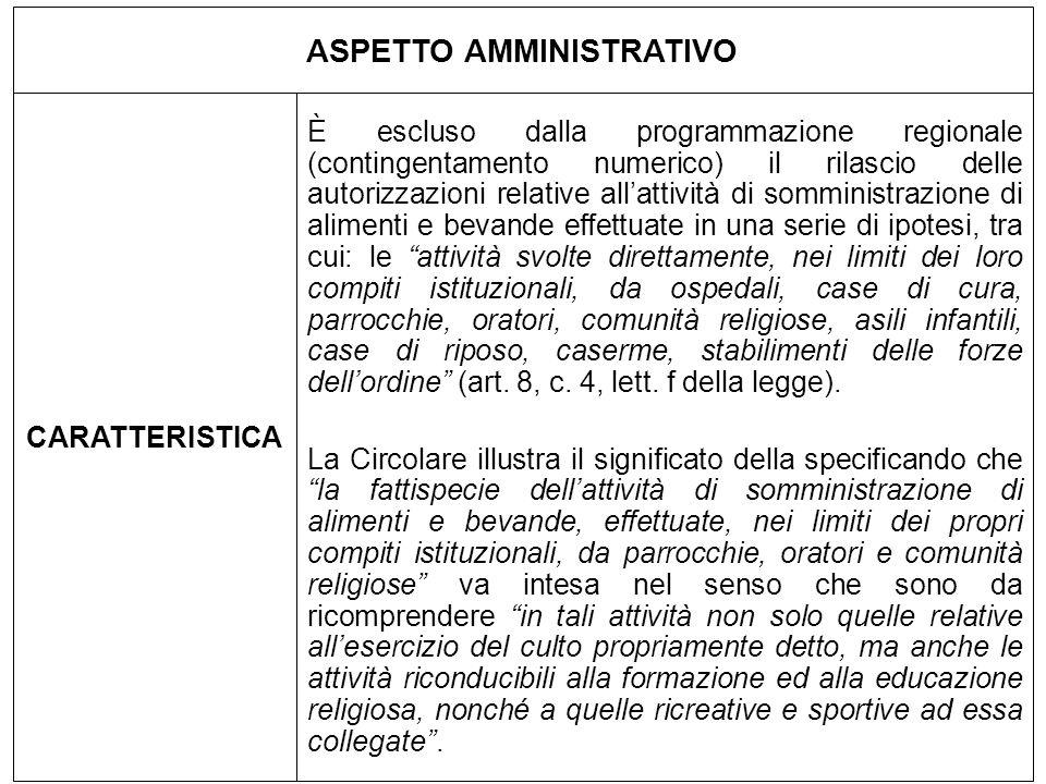ASPETTO AMMINISTRATIVO CARATTERISTICA È escluso dalla programmazione regionale (contingentamento numerico) il rilascio delle autorizzazioni relative a