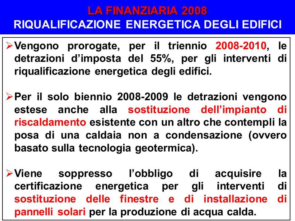 Vengono prorogate, per il triennio 2008-2010, le detrazioni dimposta del 55%, per gli interventi di riqualificazione energetica degli edifici. Per il