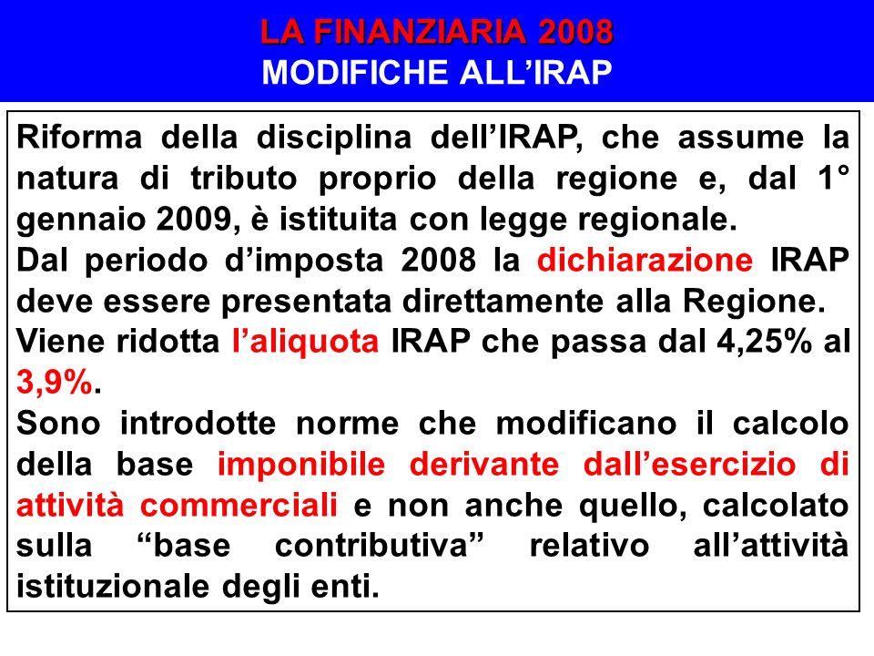 Riforma della disciplina dellIRAP, che assume la natura di tributo proprio della regione e, dal 1° gennaio 2009, è istituita con legge regionale. Dal