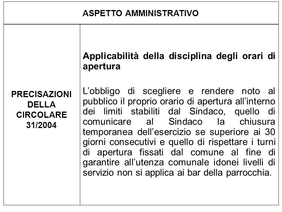 ASPETTO AMMINISTRATIVO PRECISAZIONI DELLA CIRCOLARE 31/2004 Applicabilità della disciplina degli orari di apertura Lobbligo di scegliere e rendere not