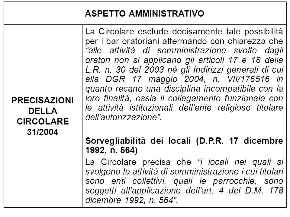 ASPETTO AMMINISTRATIVO PRECISAZIONI DELLA CIRCOLARE 31/2004 La Circolare esclude decisamente tale possibilità per i bar oratoriani affermando con chia