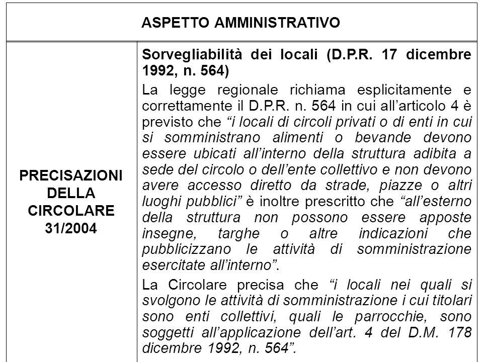 ASPETTO AMMINISTRATIVO PRECISAZIONI DELLA CIRCOLARE 31/2004 Sorvegliabilità dei locali (D.P.R. 17 dicembre 1992, n. 564) La legge regionale richiama e