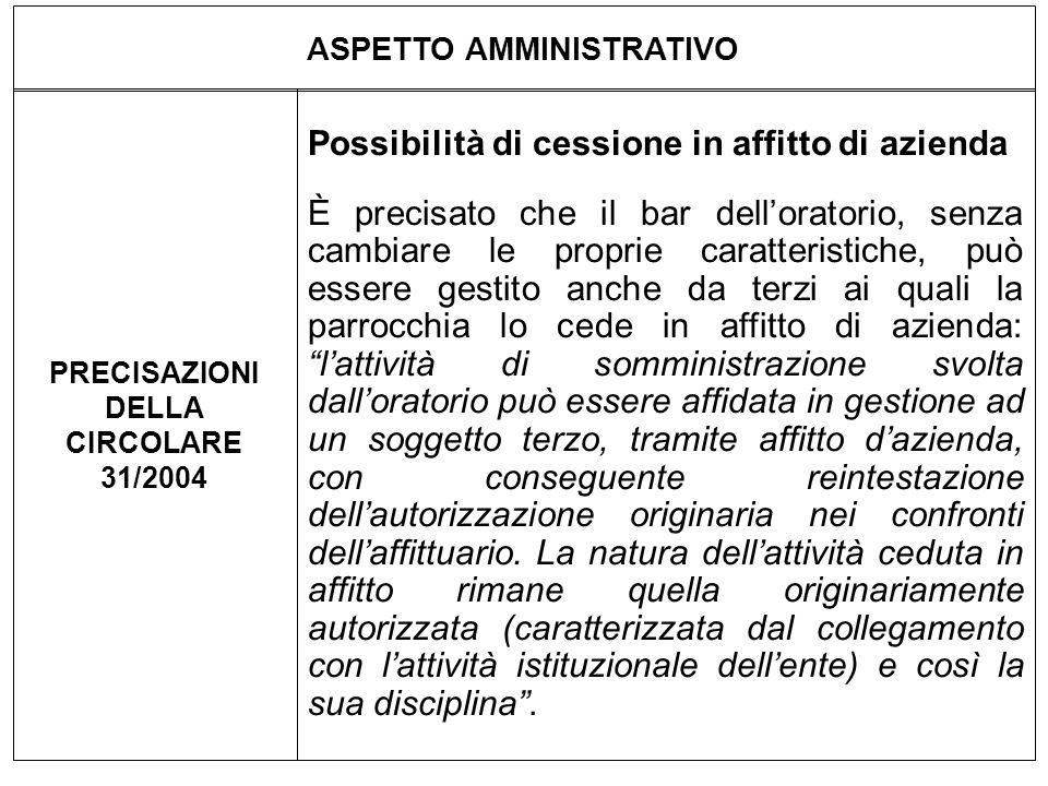 ASPETTO AMMINISTRATIVO PRECISAZIONI DELLA CIRCOLARE 31/2004 Possibilità di cessione in affitto di azienda È precisato che il bar delloratorio, senza c