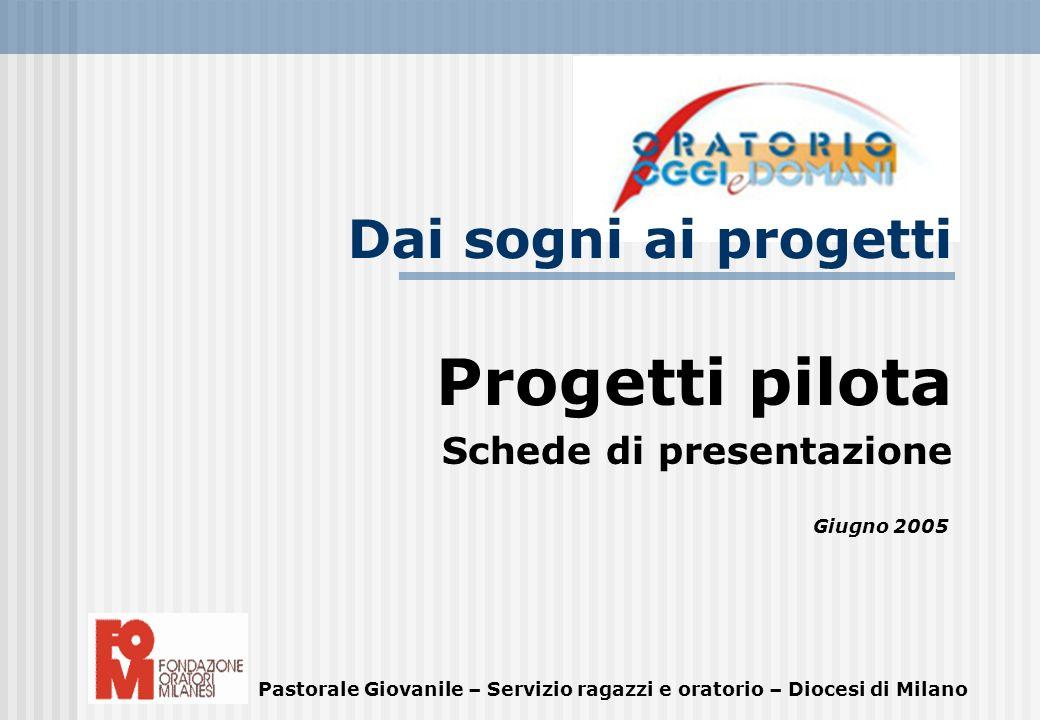 Progetti pilota Schede di presentazione Giugno 2005 Pastorale Giovanile – Servizio ragazzi e oratorio – Diocesi di Milano Dai sogni ai progetti