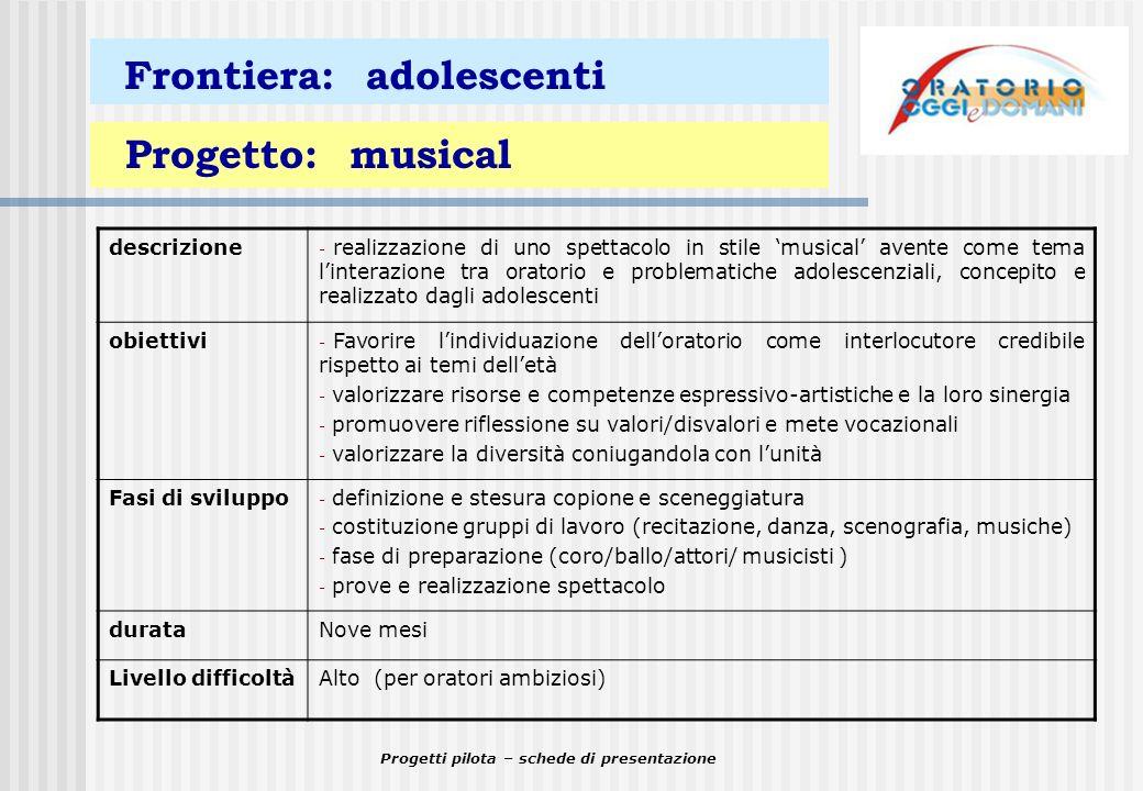 Progetti pilota – schede di presentazione Frontiera: adolescenti Progetto: musical descrizione - realizzazione di uno spettacolo in stile musical aven