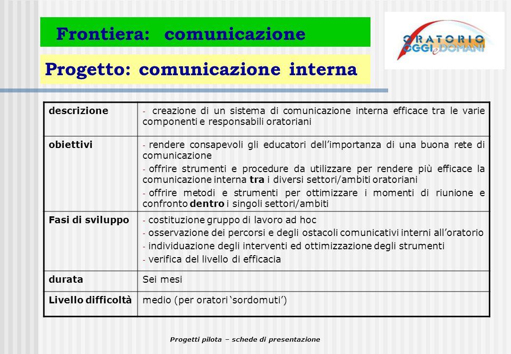 Progetti pilota – schede di presentazione Frontiera: comunicazione Progetto: comunicazione interna descrizione - creazione di un sistema di comunicazi