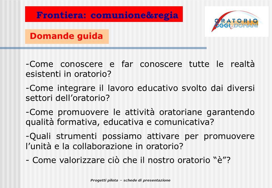 Progetti pilota – schede di presentazione Domande guida Frontiera: comunicazione -Come valorizzare e migliorare la comunicazione dentro e fuori loratorio.