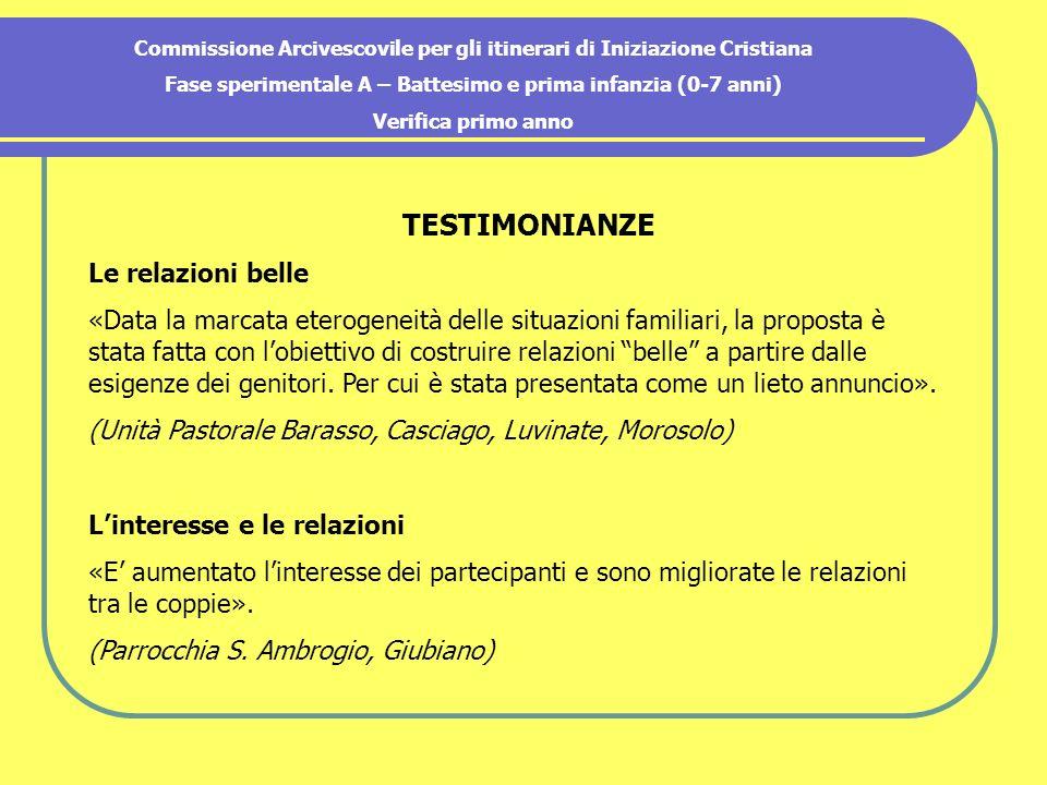 Commissione Arcivescovile per gli itinerari di Iniziazione Cristiana Fase sperimentale A – Battesimo e prima infanzia (0-7 anni) Verifica primo anno T