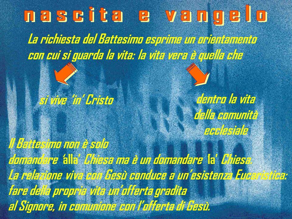 Il Battesimo non è solo domandare alla Chiesa ma è un domandare la Chiesa. La relazione viva con Gesù conduce a unesistenza Eucaristica: fare della pr