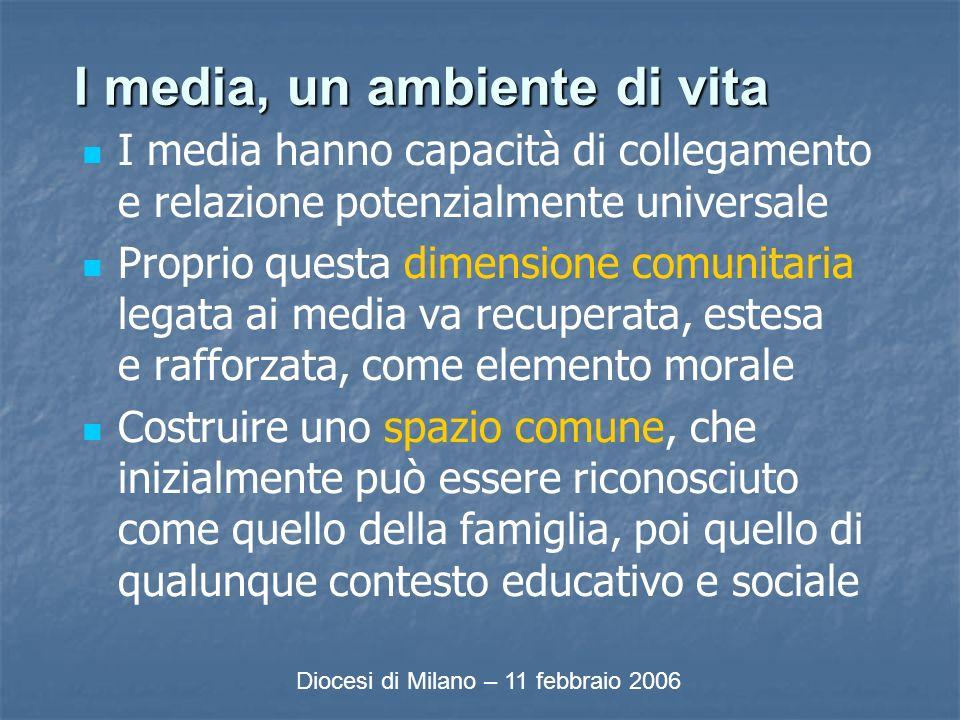 I media, un ambiente di vita I media hanno capacità di collegamento e relazione potenzialmente universale Proprio questa dimensione comunitaria legata ai media va recuperata, estesa e rafforzata, come elemento morale Costruire uno spazio comune, che inizialmente può essere riconosciuto come quello della famiglia, poi quello di qualunque contesto educativo e sociale Diocesi di Milano – 11 febbraio 2006