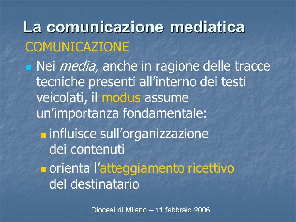 La comunicazione mediatica COMUNICAZIONE Nei media, anche in ragione delle tracce tecniche presenti allinterno dei testi veicolati, il modus assume unimportanza fondamentale: influisce sullorganizzazione dei contenuti orienta latteggiamento ricettivo del destinatario Diocesi di Milano – 11 febbraio 2006