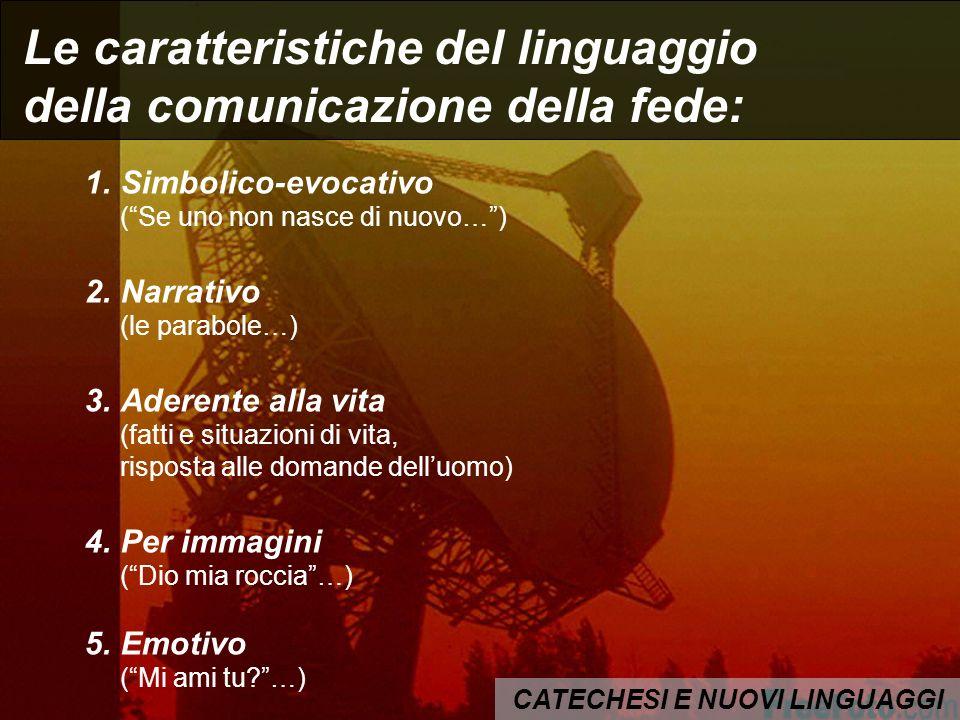 CATECHESI E NUOVI LINGUAGGI Le caratteristiche del linguaggio della comunicazione della fede: 1.Simbolico-evocativo (Se uno non nasce di nuovo…) 2.Nar