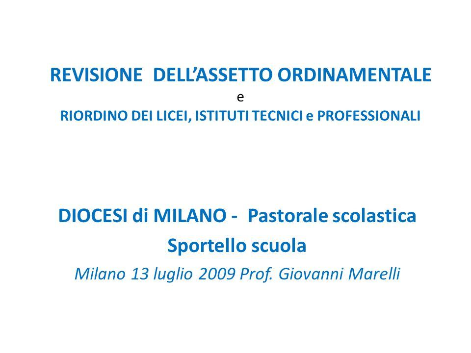 REVISIONE DELLASSETTO ORDINAMENTALE e RIORDINO DEI LICEI, ISTITUTI TECNICI e PROFESSIONALI DIOCESI di MILANO - Pastorale scolastica Sportello scuola Milano 13 luglio 2009 Prof.