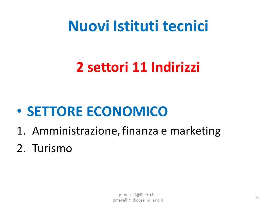 Nuovi Istituti tecnici 2 settori 11 Indirizzi SETTORE ECONOMICO 1.Amministrazione, finanza e marketing 2.Turismo 10 g.marelli@libero.it - gmarelli@diocesi.milano.it