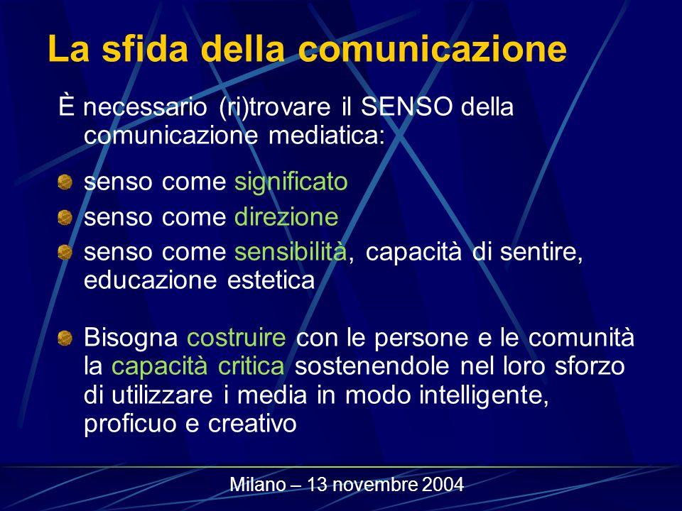 La sfida della comunicazione È necessario (ri)trovare il SENSO della comunicazione mediatica: senso come significato senso come direzione senso come s