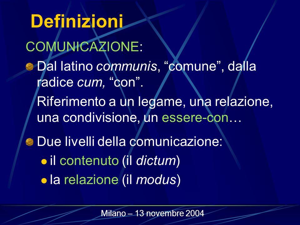 Definizioni COMUNICAZIONE: Dal latino communis, comune, dalla radice cum, con. Riferimento a un legame, una relazione, una condivisione, un essere-con