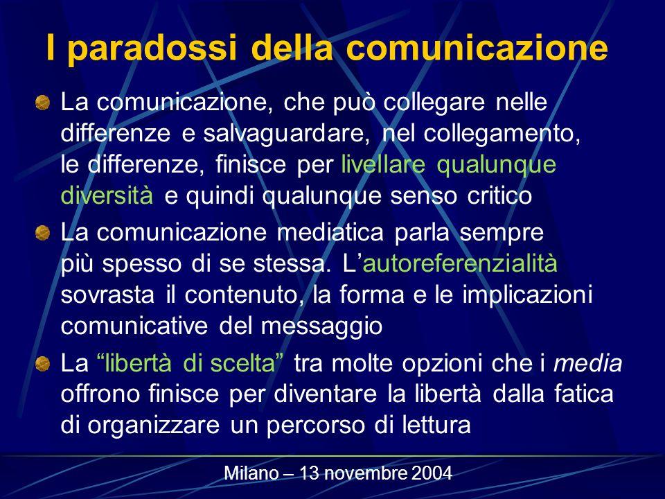 I paradossi della comunicazione La comunicazione, che può collegare nelle differenze e salvaguardare, nel collegamento, le differenze, finisce per liv