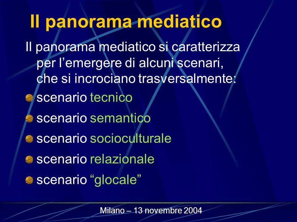 Il panorama mediatico Il panorama mediatico si caratterizza per lemergere di alcuni scenari, che si incrociano trasversalmente: scenario tecnico scena